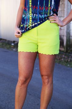 Scalloped Shorts {Lime} - The Rage - 1