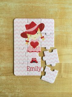 Personalized Valentine Cowgirl Puzzle by jpurifoy on Etsy