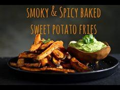 SMOKY & SPICY BAKED SWEET POTATO FRIES   AVOCADO, CILANTRO & LIME DIPPING SAUCE - Bessie Bakes