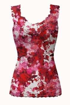 Be Mine Print Mesh Lace Strap Camisole