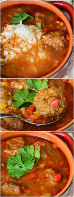 Sub almond flour for breadcrumbs Mexican Meatball Soup | from www.willcookforsm... #dinner #soup #spicy