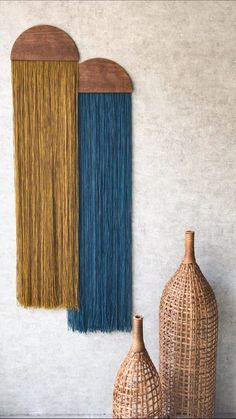 Wall hanging fiber art mid-century modern art tapestry wall art home decor yarn wall hanging woven tapestry casita macrame crescent moon slab Diy Wall Art, Diy Wall Decor, Wood Wall Art, Blue Wall Decor, Blue Home Decor, Home Decor Signs, Wall Decorations, Diy Wand, Tapestry Weaving