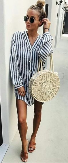 #summer #outfits women's white and black striped button-up long-sleeved shirt.