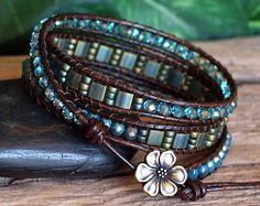 Aqua Turquoise Bronze Beaded Wrap Bracelet, Tila and Crystal Beaded Triple Wrap, Handmade Artisan Jewelry, Gift For Her, Bohemian Bracelet Bracelets Wrap En Cuir, Beaded Wrap Bracelets, Bohemian Bracelets, Bohemian Jewelry, Beaded Jewelry, Crochet Bracelet, Vintage Jewellery, Gemstone Jewelry, Antique Jewelry