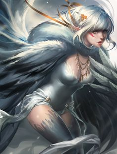 playful Snow Harpy by sakimichan.deviantart.com on @deviantART  (Imagine this was your guardian angel! ) lol