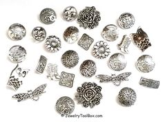 Metal Button Collection, Pewter Button Assortment, Shank Buttons, Silver Buttons, Button Variety, 50 grams (approx 26 Buttons) or 100 grams by JewelryToolBox on Etsy https://www.etsy.com/listing/204850503/metal-button-collection-pewter-button