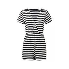 Women Short Sleeve V Neck Stripe Romper Wrap Jumpsuit Casual Jumpsuit ($15) ❤ liked on Polyvore featuring jumpsuits, rompers, jumpsuits & rompers, stripe, playsuit romper, striped jumpsuit, summer rompers, v neck jumpsuit and long-sleeve rompers
