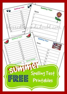 FREE Summer Days Spelling Test Printables! - http://www.blessedbeyondadoubt.com/free-summer-days-spelling-test-printables-2/