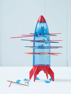 Spaceship Game I think that I could diy this using an empty soda bottle and wooden skewers...