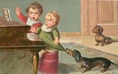 Vintage Dachshund postcard, by Wally Fialkowska. Vintage Dachshund, Dachshund Art, Vintage Dog, Weenie Dogs, Doggies, Whippets, Dog Art, Vintage Postcards, Puppy Love