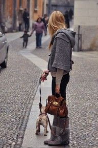 Love the whole outfit.  Mulberry bag... including the dog ! lol