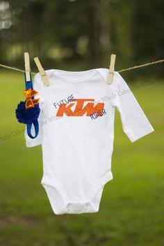 KTM   KTM Baby   Blue an Orange   DIY   Silhouette   Dirt bike love   Future Rider   Motocross   Enduro   Cross Country   DIY Bow https://www.facebook.com/TheWholeCaboodlebyHeather