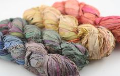 Copy of 4 pack Reclaimed Sari Silk Ribbon: Muted Rainbow from DGY