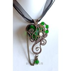 Emerald green steampunk heart wire wrapped pendant - Polyvore