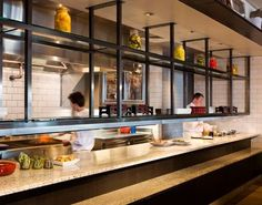open kitchen pass with black steel frame gantry Restaurant Design, Open Kitchen Restaurant, Kitchen Pass, Restaurant Plan, Kitchen Unit, Cafe Design, Küchen Design, Layout Design, Design Ideas