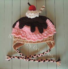 Ravelry: Ice Cream Sundae Hat pattern by Jamie Huisman Crochet Baby Bonnet, Newborn Crochet, Purse Patterns, Crochet Patterns, Crochet Ideas, Knitting Projects, Crochet Projects, Crochet Christmas Gifts, Crochet Hats