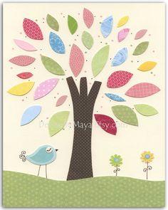 Baby girl room, nursery wall art, nursery Art, Love birds, set of 3 8x10, pink, baby blue, green and yellow tree, flowers, love bird. $50.00, via Etsy.