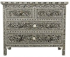 Classic Mother of Pearl and Bone Inlay - Chest of Drawers - Three Tiered…