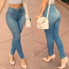 Women skinny high waist jeans feminino elastic stretch bleached long slim blue sexy push up denim pants. Product ID: Jeans Casual, Jeans Denim, Blue Jeans, Jeans Style, Black Pants, Jeans Skinny Azul, Fashion Moda, Womens Fashion, Ladies Fashion