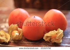 persimmon autumn dessert fruit - stock photo