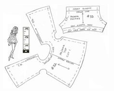 https://flic.kr/p/qaxGNM | Barbie PJs | The illustration is familar--perhaps this is one of Eileen's patterns?  And it looks like Francie in the drawing, but the outfit is sized for Vintage/Mod Barbie. A word of advice--ignore the ruler!  After downloading this pattern, I simply sized it at 11x8.5 inches and printed.  It worked fine.  Happy sewing!