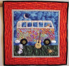 "She caught the quilting 'Bug'…  by Marie O'Kelley, Seattle, WA  I enjoyed seeing the quilts of various vehicles in the Nov/Dec 09 issue, and wanted to share mine with you. I made it in 2005 as an end of the year gift for my daughter's exceptional fourth grade teacher.  He also drove a VW Bus and played guitar. Attached is a photo of the quilt (16""x16""), and a poem I wrote which was printed on the back. The VW Bus was from a commercial pattern, but I don't remember whose."