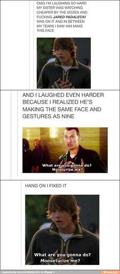 Doctor Who/Supernatural.  I died. Mooseturize me.