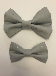 ecf562ad7841 Silver Metallic Triangles on Gray Bow Tie, Father Son Matching Bow Ties,  Baby Bow