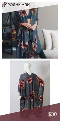 """Just In- Charcoal Floral Kimono, Bohemian Kimono This listing is for a floral print Kimono featuring armholes. Super cute with skinny jeans and a crop top. Makes a great bathing suit coverup as well. 100% soft Viscose. 38""""x46"""". Brand new. Price is firm unless bundled. Thank you 💕 Accessories Scarves & Wraps"""