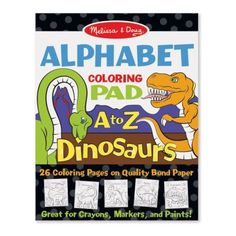 Dinosaurs Alphabet Coloring Pad $2.99  This 11 x 14-inch coloring pad is a dinosaur-filled way to learn the alphabet! Perfect for tabletop coloring with crayons, markers, pencils, or paints, the easy-to-remove pages each feature a letter of the alphabet, along with color-in dinosaurs to illustrate its sound. From Apatosaurus to Zuniceratops, this is a creative way to learn not only the alphabet, but dinosaur names, too! It's so much fun to identify the animals, trace the letters, & color. B Words List, J Words, Dinosaur Alphabet, Animal Alphabet, Dinosaur Toys, Graffiti Alphabet Styles, Spelling For Kids, Puzzle Shop, Bond Paper