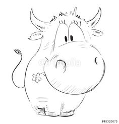 Cute cow sketch isolated on white - buy this stock illustration on Shutterstock & find other images. Cow Cartoon Drawing, Cow Drawing, Cartoon Cow, Easy Cartoon Drawings, Easy Drawings, Drawing Ideas, Animal Sketches, Animal Drawings, Cow Sketch