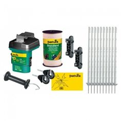 Electric Fencing Starter Kit - Basic (1.05m Posts) Will fence approx 100m Consists of 1 x P10 battery energiser 1 x Standard polytape 10mm x 200m 10x Heavy duty polyposts 1.05m 1 x Black gate handle 2 x Ring Insulators 1 x Warning Sign