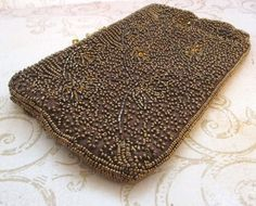 Brown Bead Bag 1950s bronze clutch bag Vintage by TheBeadSource $38.00