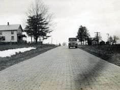 This section of the Lincoln Highway in Ohio was originally paved with brick. Some of it survives today. (1924) http://ow.ly/r3EFG