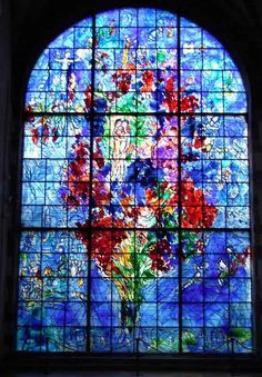 Stained Glass Window by Marc Chagall Modern Stained Glass, Stained Glass Art, Stained Glass Windows, Mosaic Glass, Marc Chagall, Chagall Windows, L'art Du Vitrail, Chagall Paintings, Church Windows