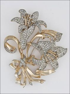 Coro Rhinestone Floral Brooch 1940