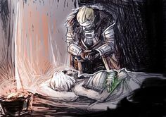 """But what of your escape?"" After Haven, when Cullen is certain the Inquisitor will not freeze to death, he prays for her to wake up and be okay and- ""Maker! Never again""."