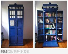 TARDIS bookshelf!!!!!! This may be the coolest thing I have ever seen.