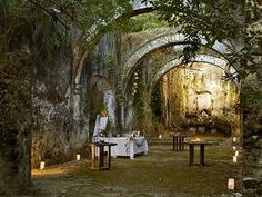 Travel Inspiration for Mexico - A historic boutique hotel not far from the walled city of Campeche and the Gulf of Mexico, Hacienda Uayamon is a romantic blend of overgrown ruins and mod-con comforts. Style Hacienda, Mexican Hacienda, Outdoor Spaces, Outdoor Living, Outdoor Seating, Holidays To Mexico, Parcs, Old World Charm, Mexico Travel