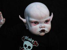 Ooak horror goth art doll Evil baby Vampire Halloween Arts And Crafts, Halloween Doll, Creepy Halloween, Diy Halloween Decorations, Scary Baby Dolls, Creepy Dolls, Doll Head, Doll Face, Demon Baby