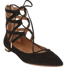 Aquazzura Women's Belgravia Flat ($695) ❤ liked on Polyvore featuring shoes, flats, zapatos, black, flat shoes, ankle strap flats, suede flats, pointed-toe ankle-strap flats and black shoes