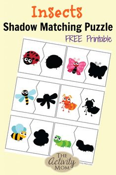 The Activity Mom - Insect Shadow Matching Puzzle - The Activity Mom Puzzles For Toddlers, Printable Activities For Kids, Preschool Learning Activities, Preschool Themes, Preschool Activities, Toddler Puzzles, Insect Crafts, Bug Crafts, Insect Activities