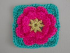 Flower Granny Square Crochet Tutorial - Flower can be made seperately - YouTube