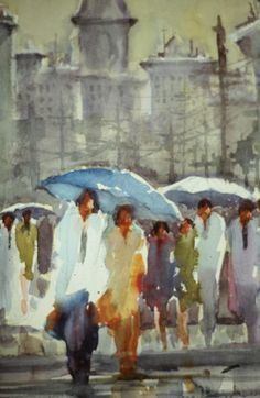 Jerry Stitt Watercolor ~ New York. Just bought one of his watercolors, similar to this one entitled: New Orleans