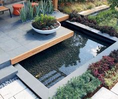 Cool Fish Pond Garden Landscaping Ideas For Backyard - If you are looking for a garden fish pond, more than likely you are not interested in fancy Japanese gardens or a giant waterfalls. A backyard fish po. Modern Pond, Modern Landscape Design, Modern Backyard, Ponds Backyard, Modern Landscaping, Backyard Landscaping, Landscaping Ideas, Garden Ponds, Koi Ponds