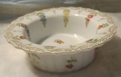CERAMIC GOLD TRIM TRINKET CONTAINER-FLORAL DESIGN-G735 IN GOLD ON THE BOTTOM-*