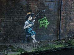 Graffiti Artist Banksy Tags on the River Banks #graffiti trendhunter.com