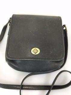 Coach Companion Flap Legacy Black Leather Crossbody Shoulder Bag Purse 9076…