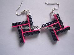 Handmade Jewelry - Paper Quilling Four Square Earrings (1)