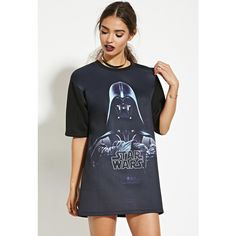 Forever 21 Women's  Star Wars Darth Vader Graphic Tee ($14) ❤ liked on Polyvore featuring tops, t-shirts, graphic design t shirts, round neck t shirt, longline tee, ribbed t shirt and forever 21 tops